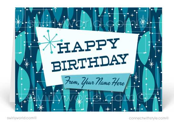 Atomic Retro Mod Blue Mid-Century Modern Style Birthday Cards