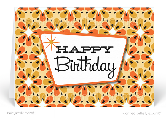 Atomic Retro Orange and Yellow Flowers Mid-Century Modern Birthday Cards