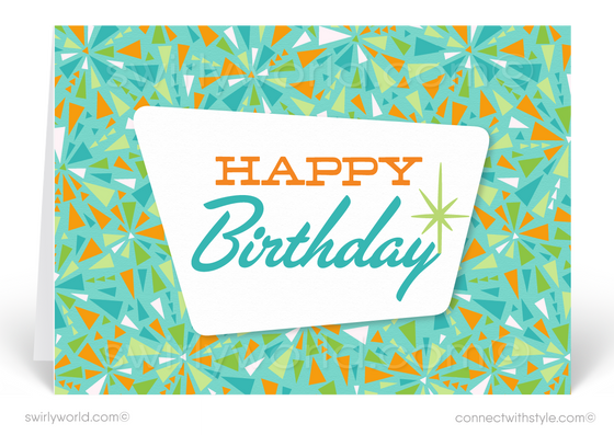 Atomic Retro Starbursts Mid-Century Modern Happy Birthday Cards