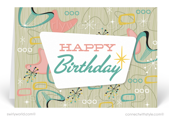 1950's Mid-Century Atomic Modern Retro Boomerang Happy Birthday Cards