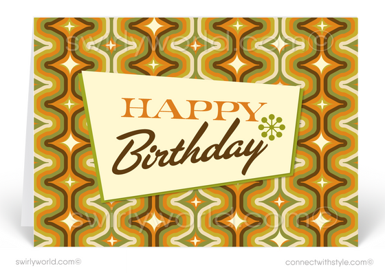 1960's Retro Mod Mid-Century Modern Happy Birthday Greeting Cards