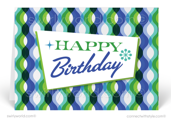 Sixties Retro Mod Mid-Century Modern Waves Happy Birthday Greeting Cards
