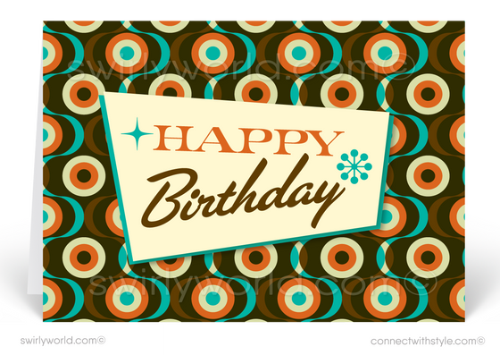 Sixties Retro Mod Mid-Century Modern Happy Birthday Greeting Cards
