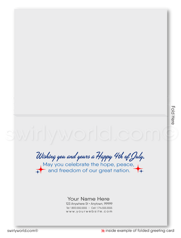 Retro Modern Happy Fourth of July Greeting Cards for Business.