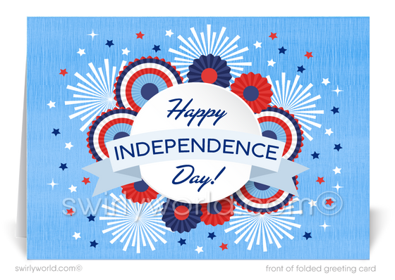 Retro Modern Business Happy 4th of July Greeting Cards