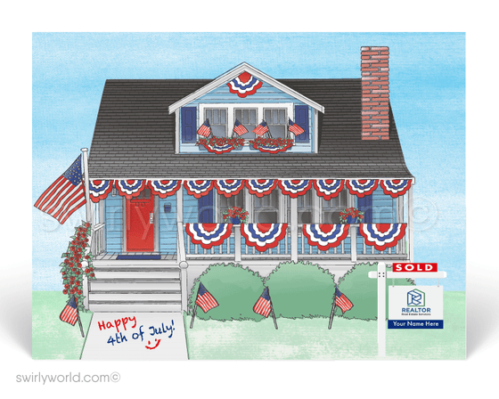 Traditional House decorated with patriotic July 4th bunting flags.