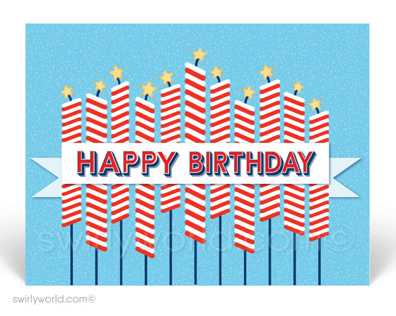 Retro Modern Happy 4th of July Firework Candles. Happy Birthday America postcards for the 4th of July.