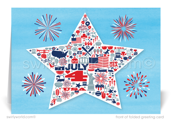 Retro Modern Star Mid-Century Happy 4th of July Greeting Cards
