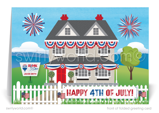 Traditional Patriotic House of the 4th of July with American Flags for Realtors