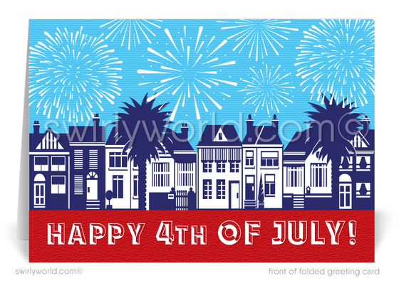 Neighborhood with Houses on the Fourth of July with Fireworks