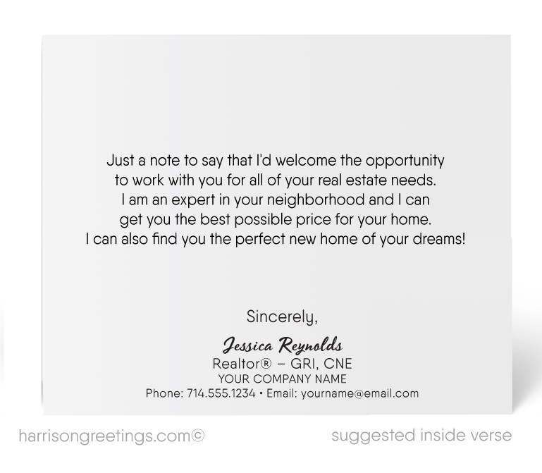 Suburban House Neighborhood Note Cards for Realtors to Prospect New Clients