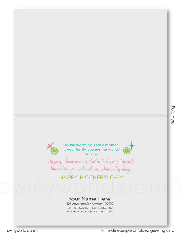Retro modern business happy Mother's Day cards for clients