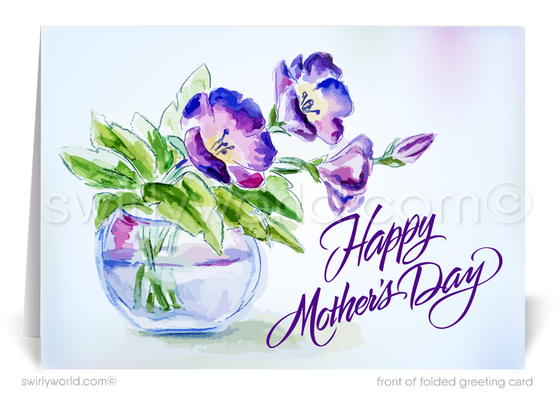 Vintage Purple Watercolor Business Mother's Day Cards for Customers