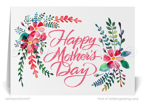 Floral Watercolor Business Happy Mother's Day Cards for Customers.