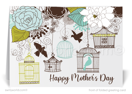 Vintage Birdcage Business Happy Mother's Day Cards for Clients