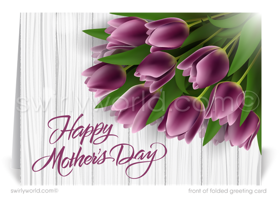 Rustic Purple Floral Business Happy Mother's Day Cards