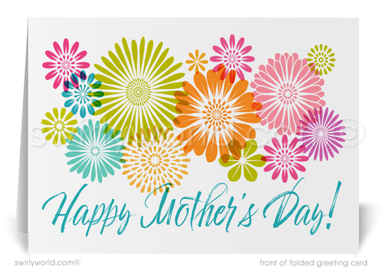 Beautiful watercolor happy Mother's Day cards for business customers and clients