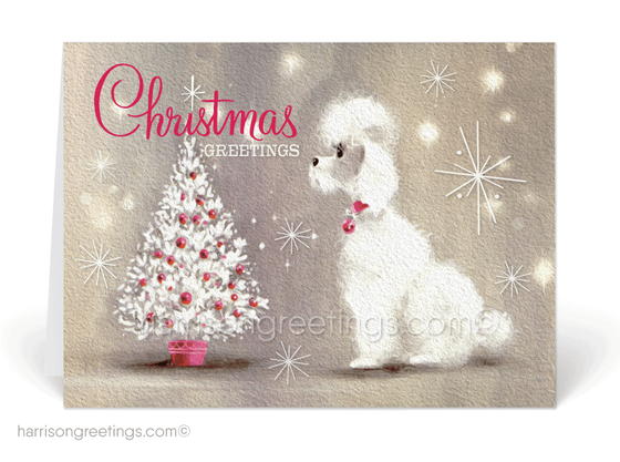 1950's Poodle Vintage Mid-Century Modern Christmas Holiday Cards