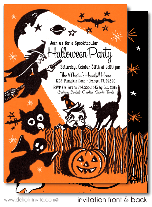 mid-century modern vintage retro Halloween party