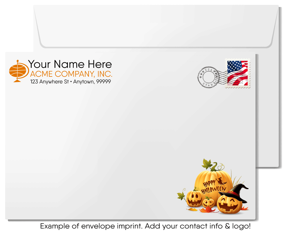 Funny Pumpkin Humorous Business Halloween Cards for Customers