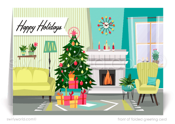 Mid-Century Retro Modern Home Interior Realtor Holiday Christmas Cards