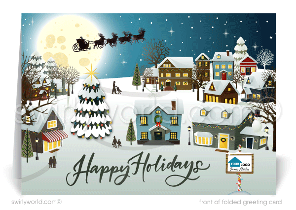 Decorated Christmas Houses Neighborhood Realtor Holiday Christmas Cards