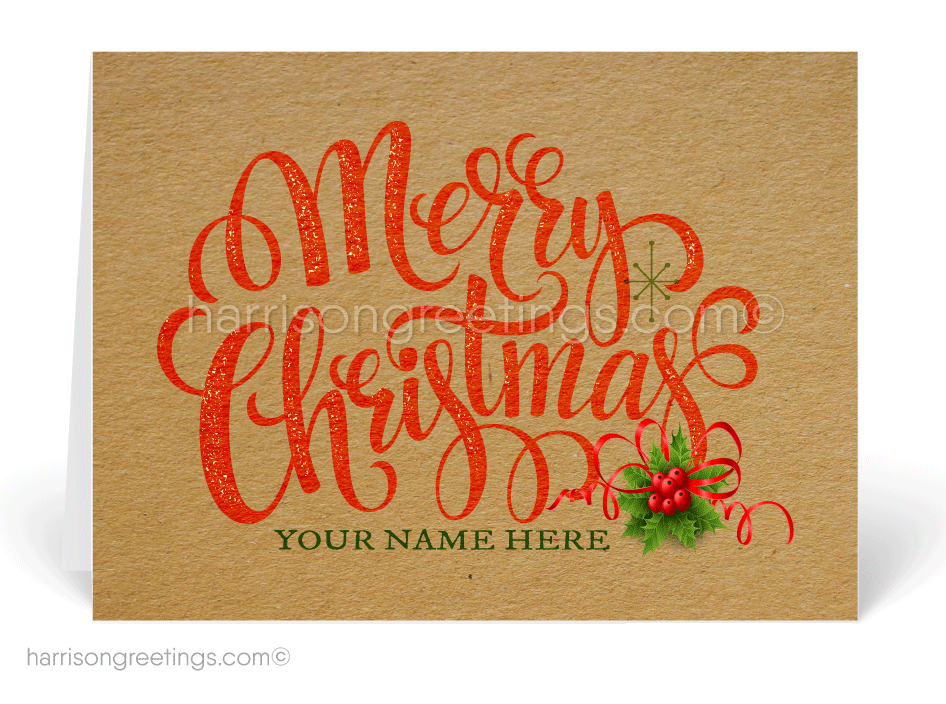 Rustic Merry Christmas Greeting Cards for Customers