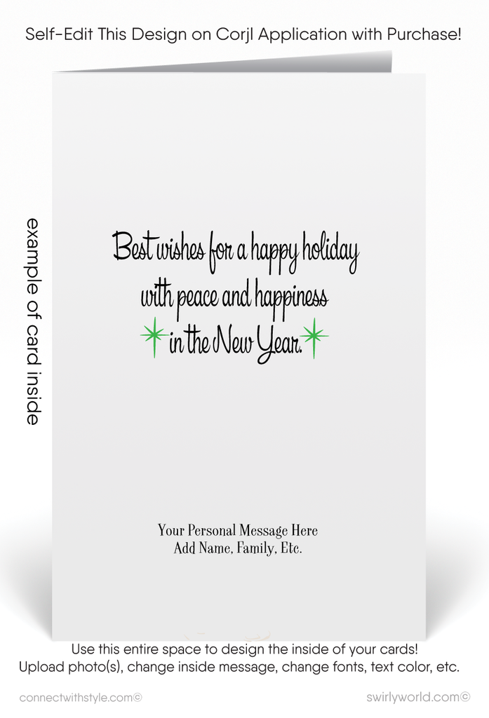 Retro Modern Home Realtor Christmas Holiday Cards