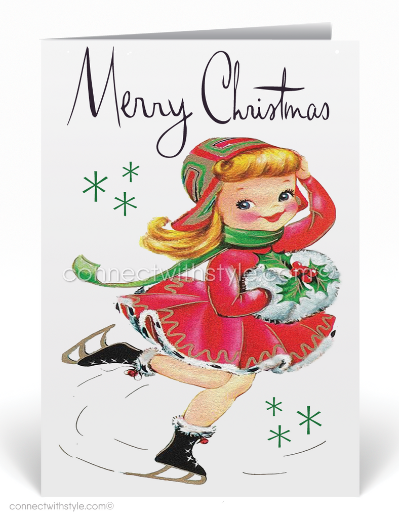 1950s Retro Vintage Ice Skater Christmas Holiday Cards