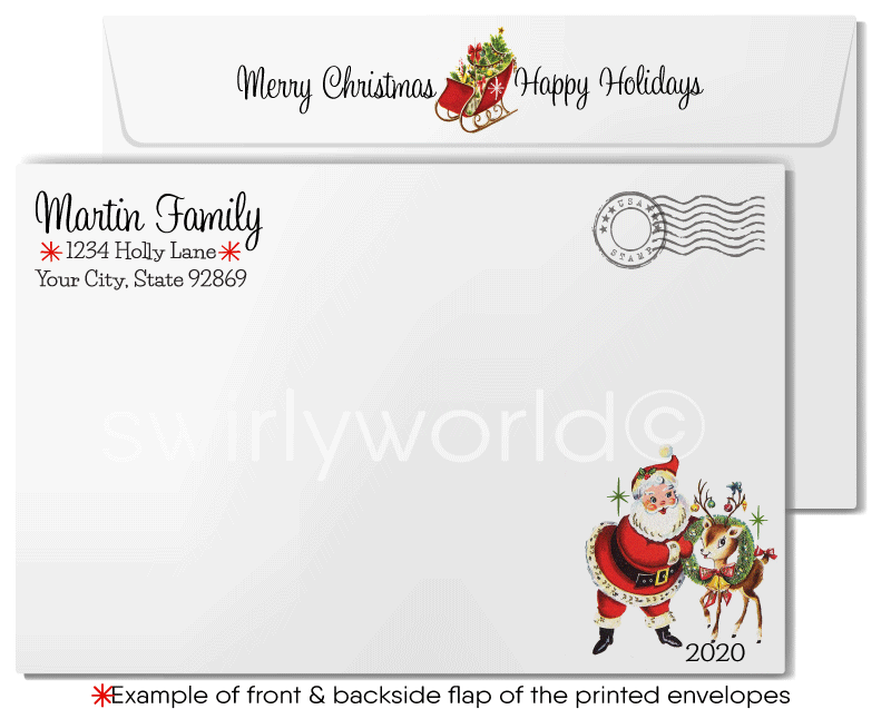 1960s Style Retro Mid-Century Mod Vintage Christmas Holiday Cards
