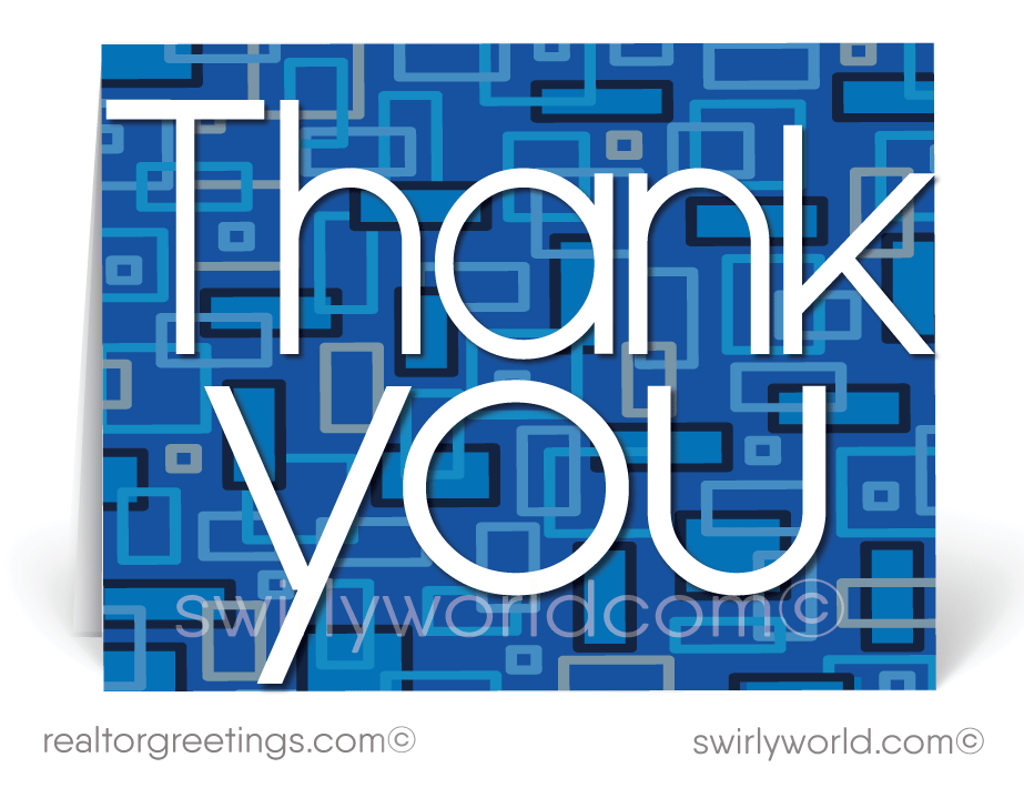 Retro Modern Pattern Blue Thank You Note Cards