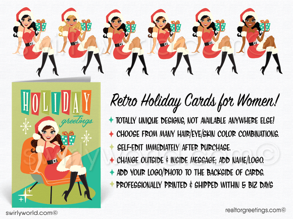 Retro Mid-Century Atomic Modern Pinup Girl Holiday Cards for WomenRetro Mid-Century Atomic Modern Pinup Girl Holiday Cards for Women