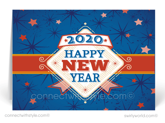 Patriotic 2020 Happy New Year Greeting Cards