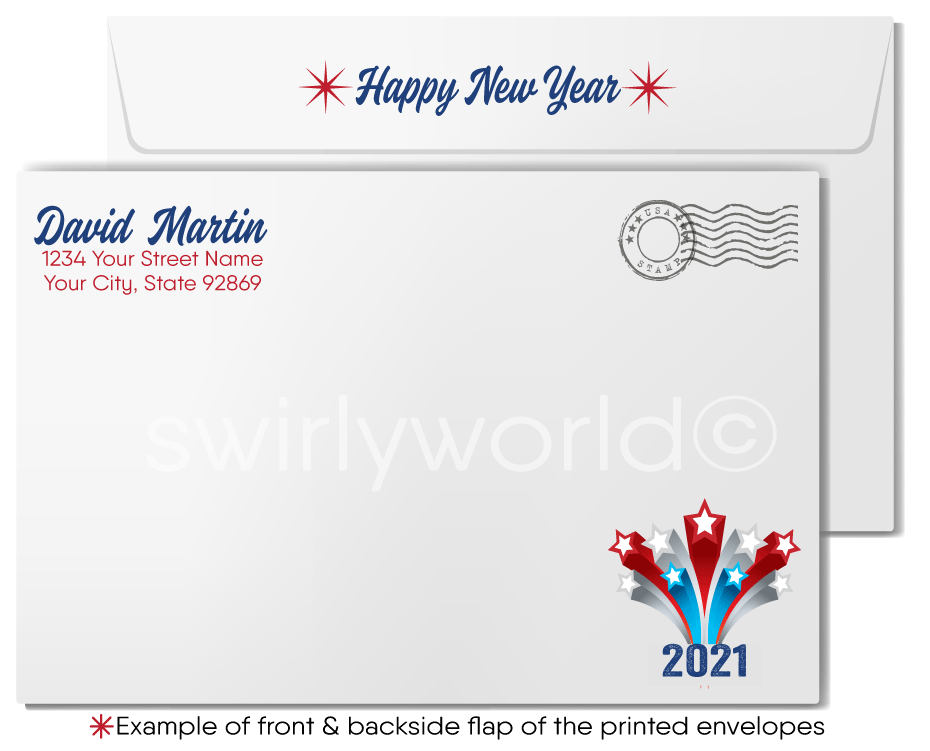 American Patriotic Happy New Year Greeting Cards