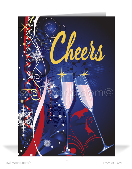 2021 Business Cheers to a New Year Greeting Cards