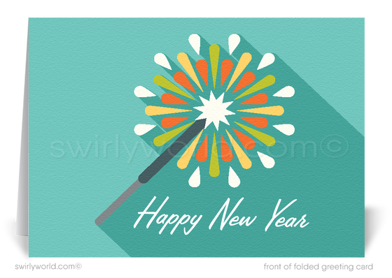 atomic retro modern happy new year cards
