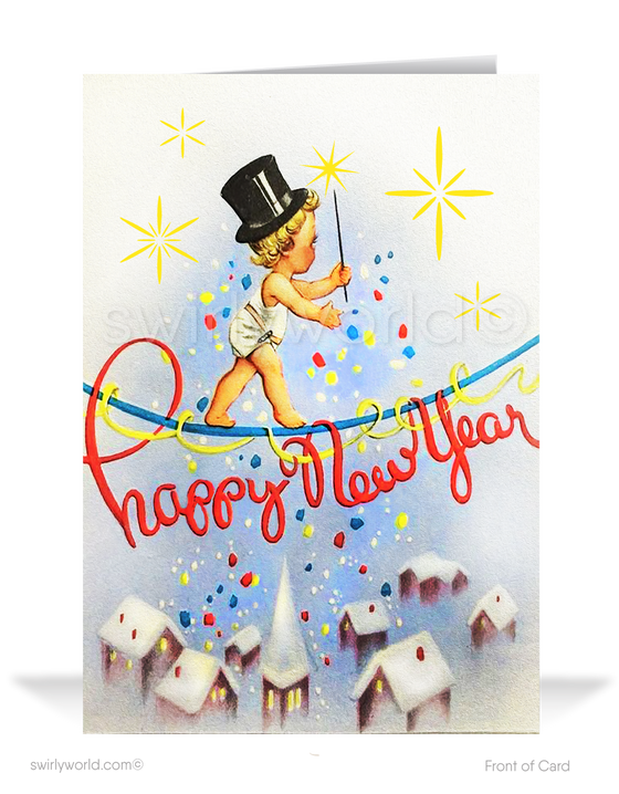 1950's retro atomic modern vintage mid-century New Year Card holiday greeting cards.