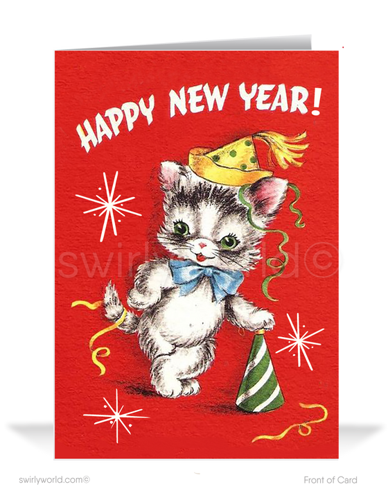 retro 1950's happy new year greeting cards
