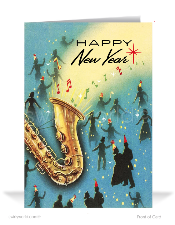 1950's retro atomic modern vintage mid-century New Years Eve holiday greeting cards.