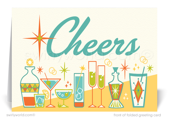 2021 Cheers! Atomic Mid-Century Retro Modern Happy New Year Cards