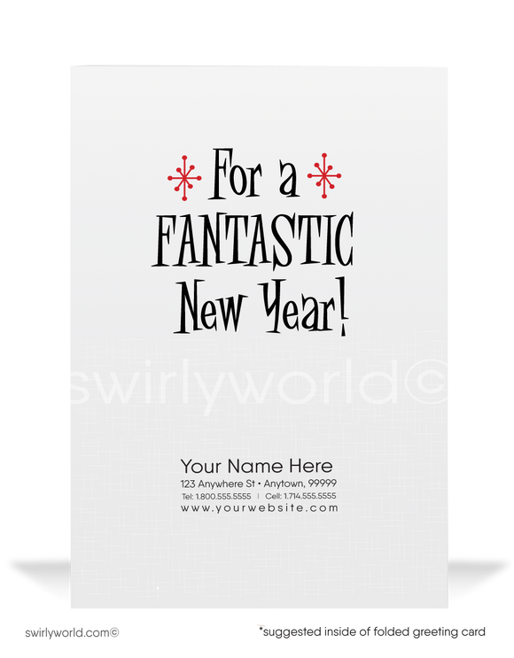 2021 Mid-Century Retro Modern Atomic Happy New Year Cards