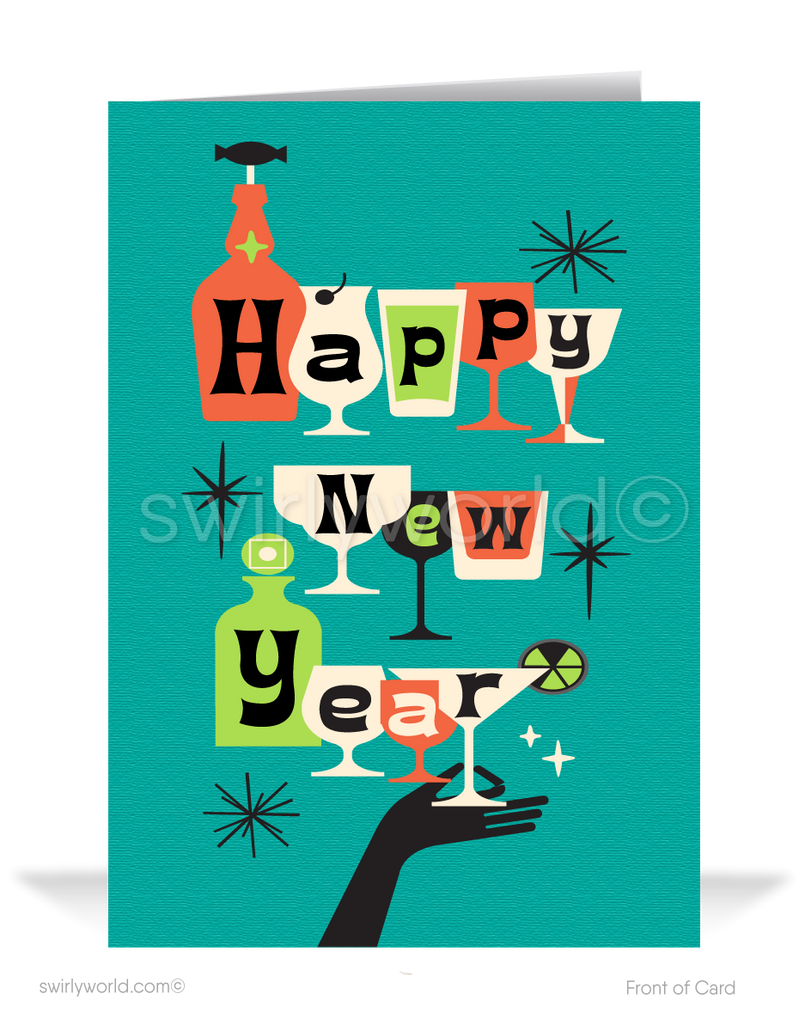 2021 Mid-Century Atomic Retro Modern Happy New Year Cards