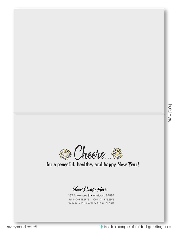 2021 Gold and black Professional Business Happy New Year Greeting Cards