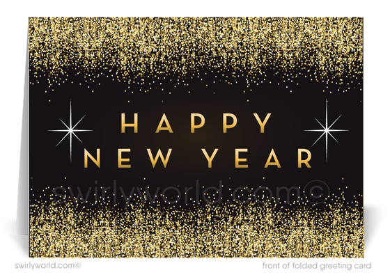 2021 Gold and black Happy New Year Greeting Cards