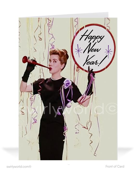 Vintage mid-century happy new years cards