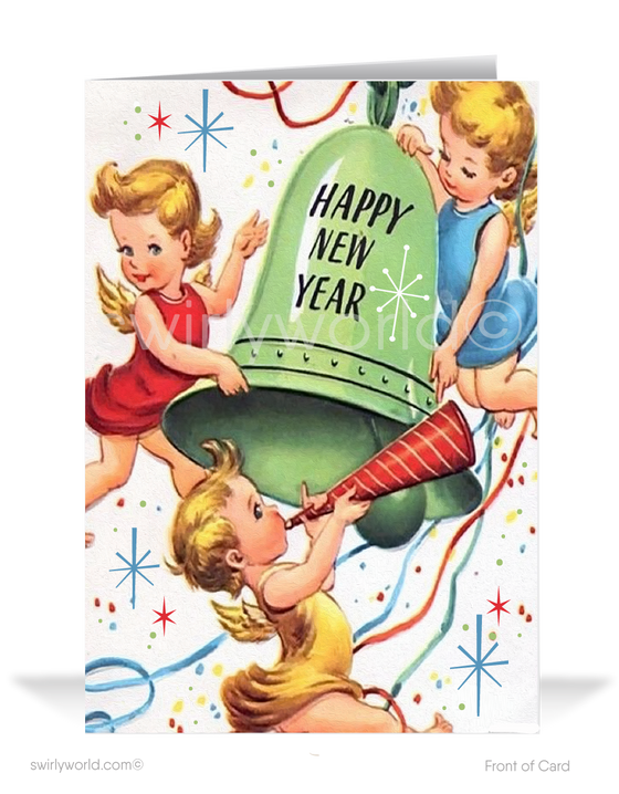 1950's vintage retro happy new year greetitng cards