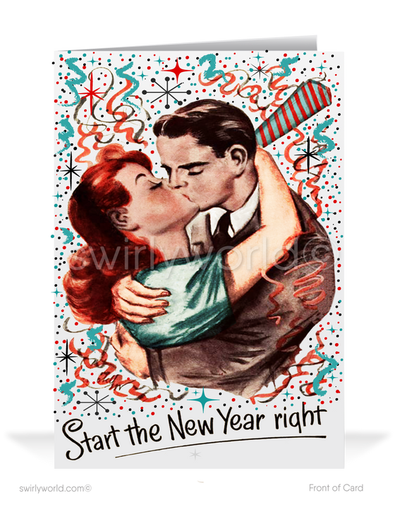 1950s Retro Mid-Century Modern Vintage Happy New Year Greeting Cards