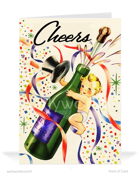 1950's retro atomic modern vintage mid-century happy new years holiday greeting cards.