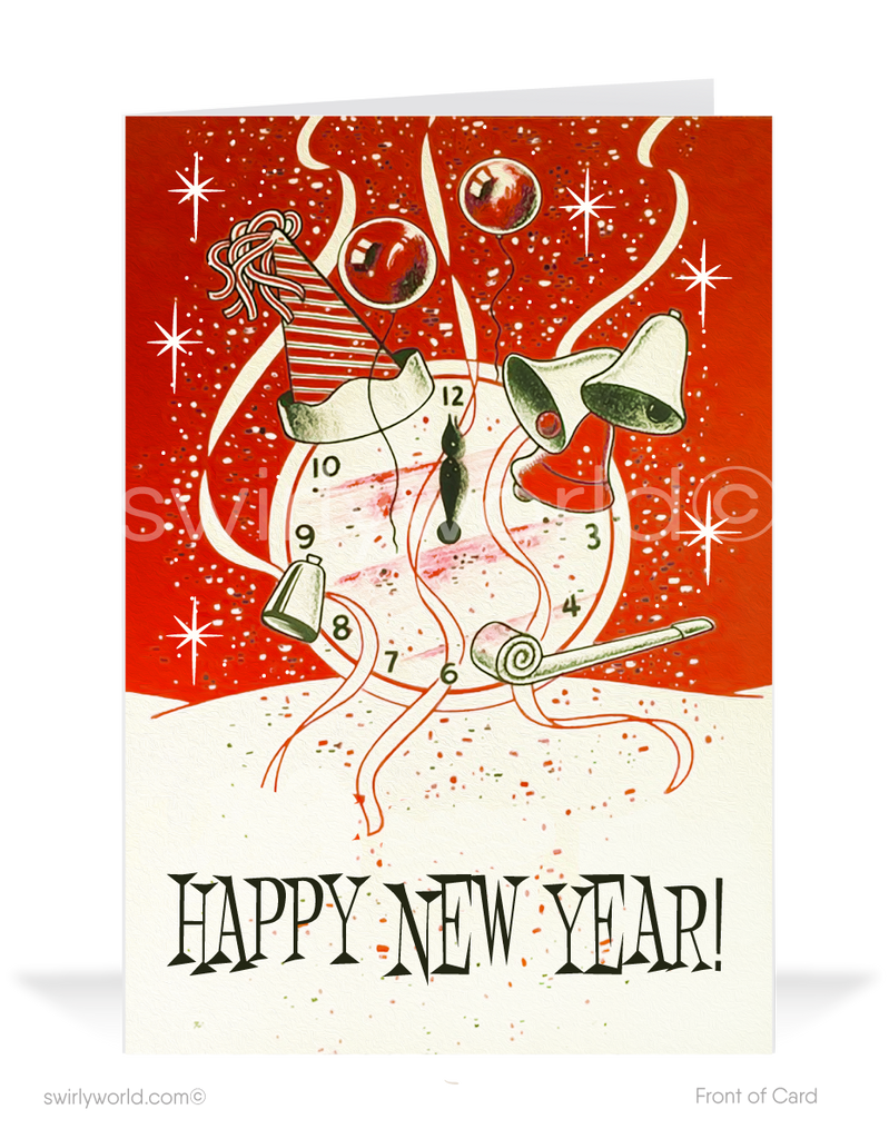 1950s Retro Vintage Mid-Century Modern Happy New Year Greeting Cards