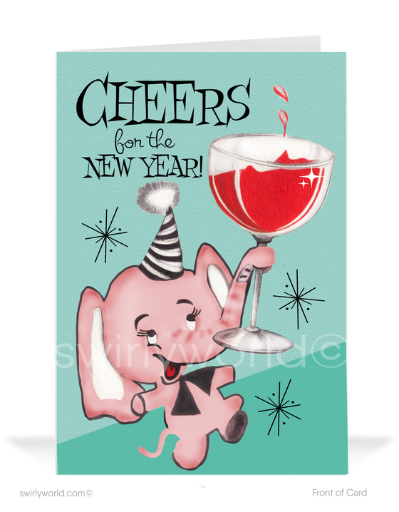 atomic retro mid-century modern cheers to the Happy New Year greeting cards